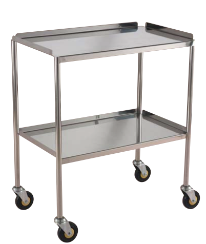 Stainless Steel Instrument Trolley Fixed Tray/Shelves available from Rycol Medical in Ireland