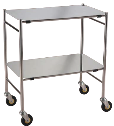 Stainless Steel Instrument Trolley Removable Shelves available from Rycol Medical in Ireland