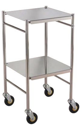 Stainless Steel Instrument/Dressing Trolley with Reversible Shelves available from Rycol Medical in Ireland